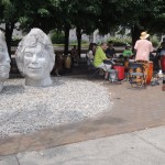 Sculpture and drum circle.